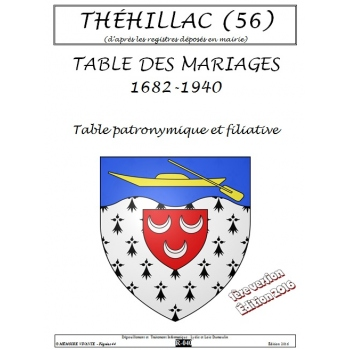 Théhillac (56) - Mariages de 1682 à 1940