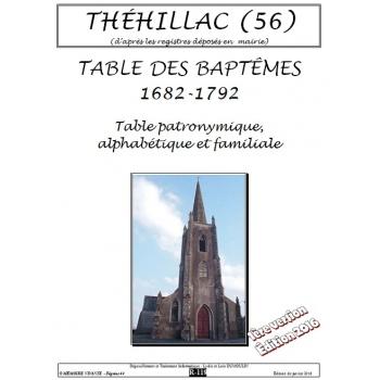 Théhillac (56) - Baptêmes de 1682 à 1792