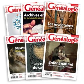 Abonnement  France - 1 an - 6 numéros + 1 Numéro Spécial - Revue Française de Généalogie