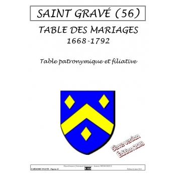 Saint-Gravé (56) - Table des mariages de 1668 à 1792