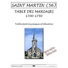 Saint-Martin (56) - Table des mariages de 1700 à 1792