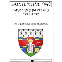 Sainte-Reine (44) - Table des baptêmes de 1715 à 1792