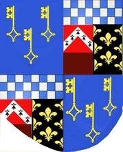 d'azure à trois clefs d'or qui est des Rollin avec damier sur fond rouge qui est des d'Aily, (par sa mère) et brisure pommé de la maison de Ghistelle (de Béthune) sous pourpre qui est d'Antoine Rollin (son père) et bande de Lys qui est d'Artois