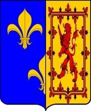 Marie Stuart, reine d'Ecosse adopta ces armes en 1560 en tant que reine de France, après la paix d'Edimbourg où elle dut renoncer à ses prétentions au trône d'Angleterre et d'Irlande