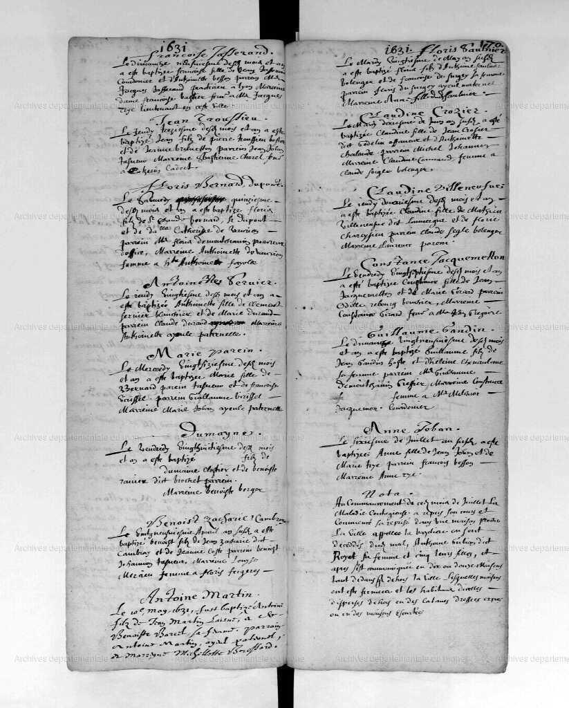 Le début de la peste en 1631 à Saint-Symphorien-sur-Coise