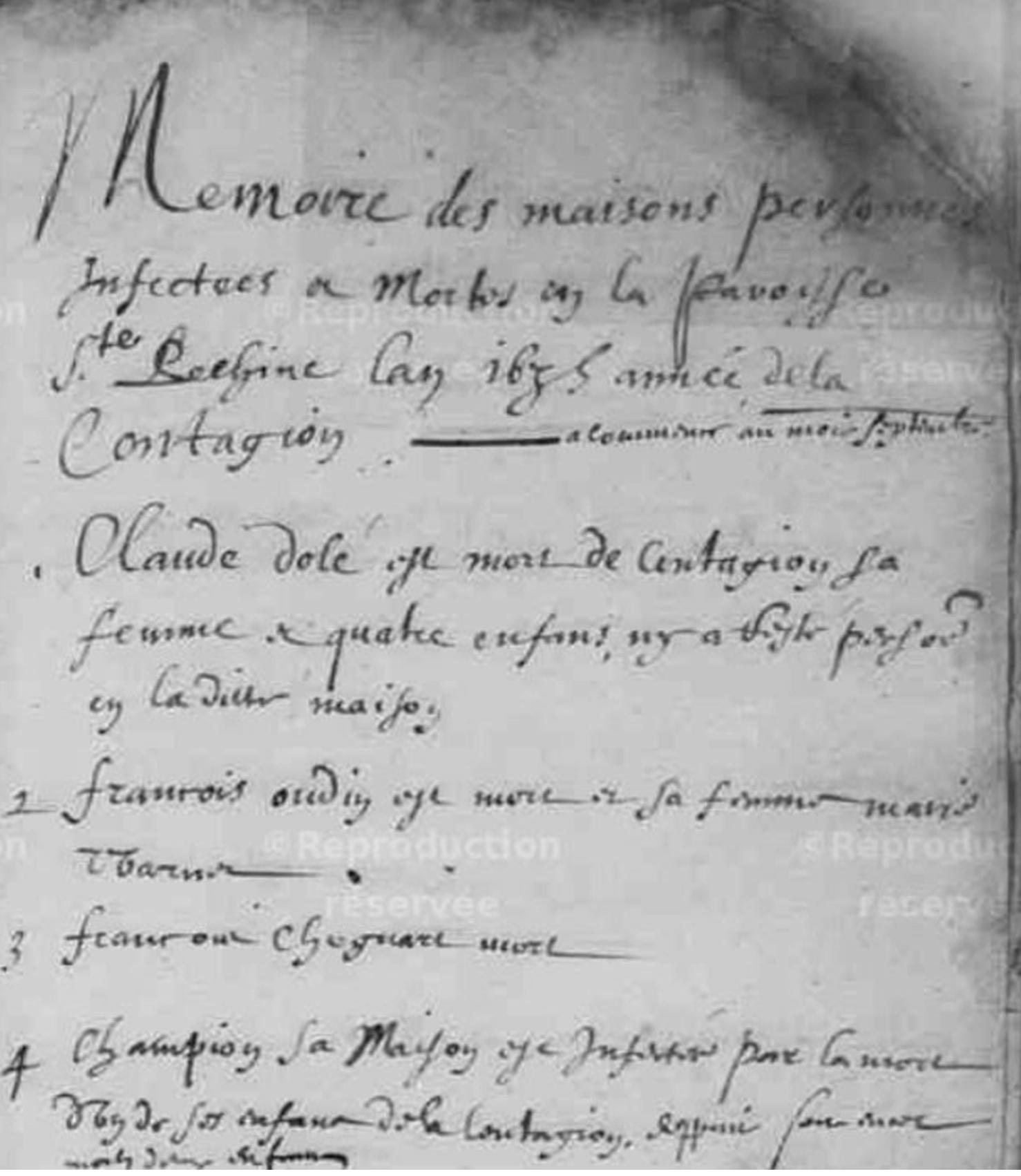 Épidémies de pestes en 1635 & 1677
