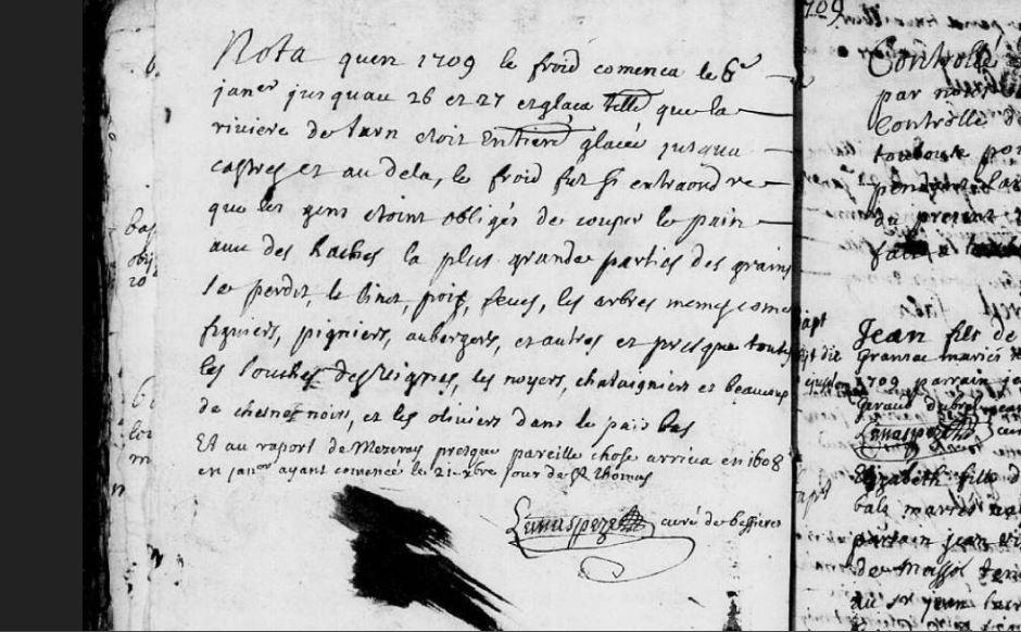 Témoignage du Grand Hiver 1709 à Bessières