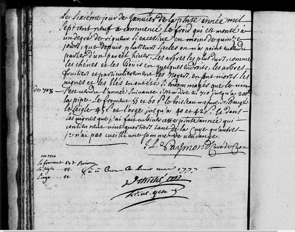 Hiver 1709 ,chènes et noyer gelés
