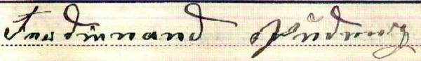Unterschrift 1894 von Ferdinand Pudenz