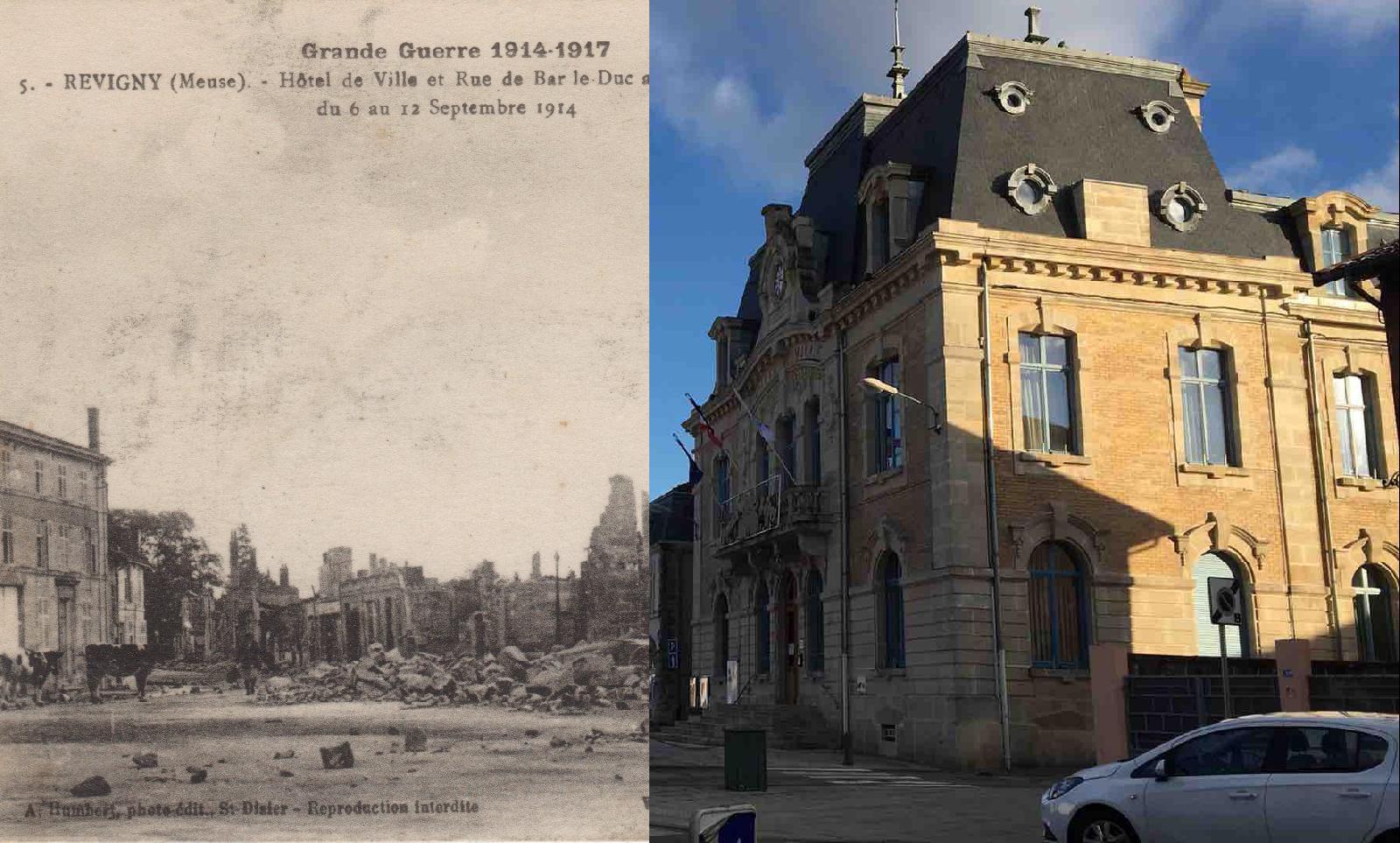 Revigny-sur-Ornain - Hôtel de Ville et Rue de Bar le Duc après le bombardement du 6 au 12 Septembre 1914
