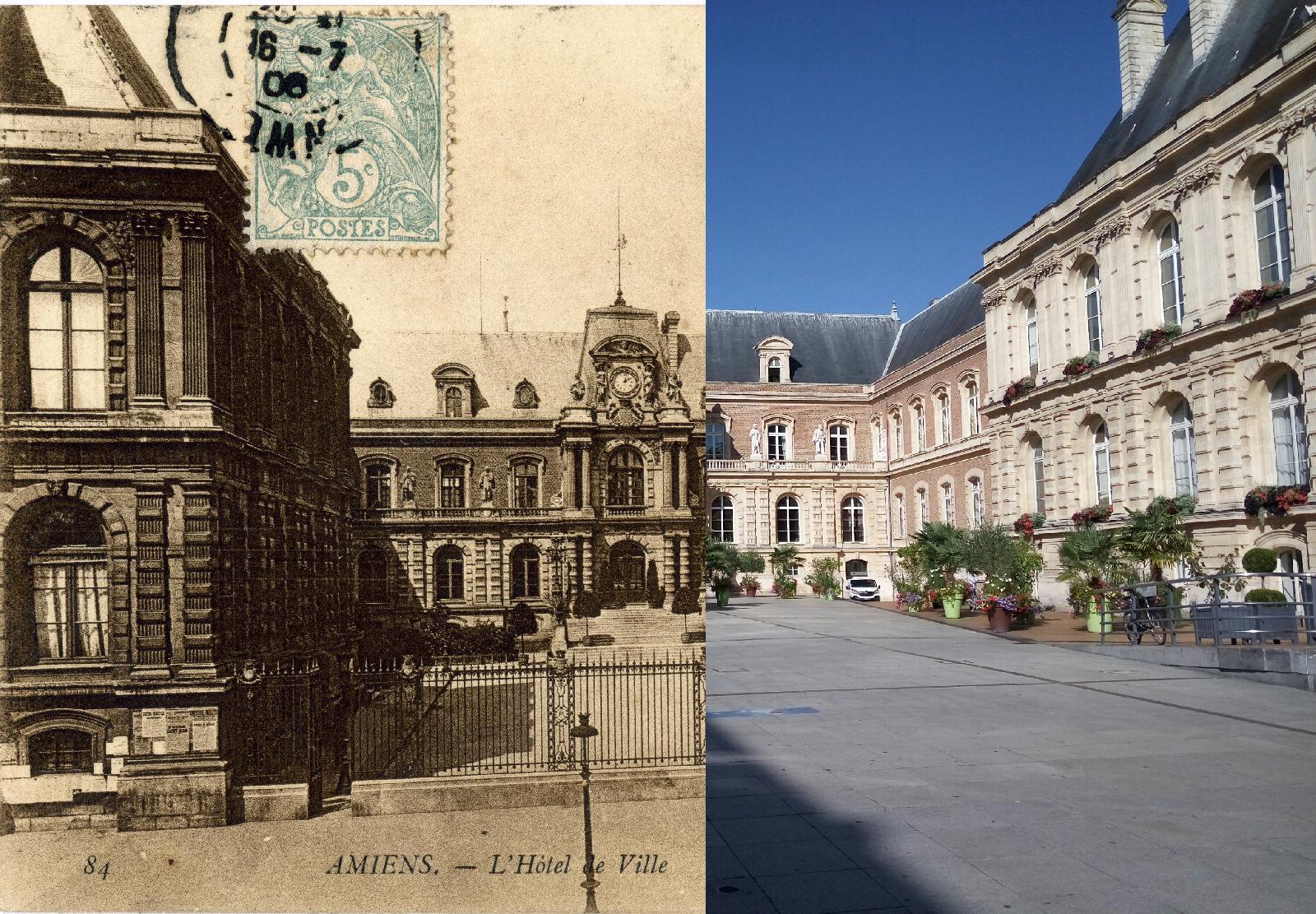 Amiens l 39 horloge et la rue des vergeaux carte postale ancienne et vue d 39 hier et aujourd 39 hui for Comment telecharger l image maisonjpg amiens
