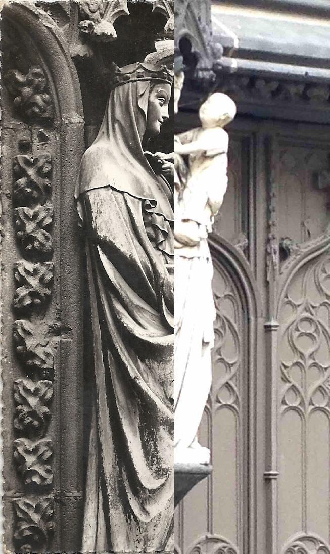 Riom - Eglise de Marthuret. La Vierge à l'oiseau (marbre du XIVème siècle).
