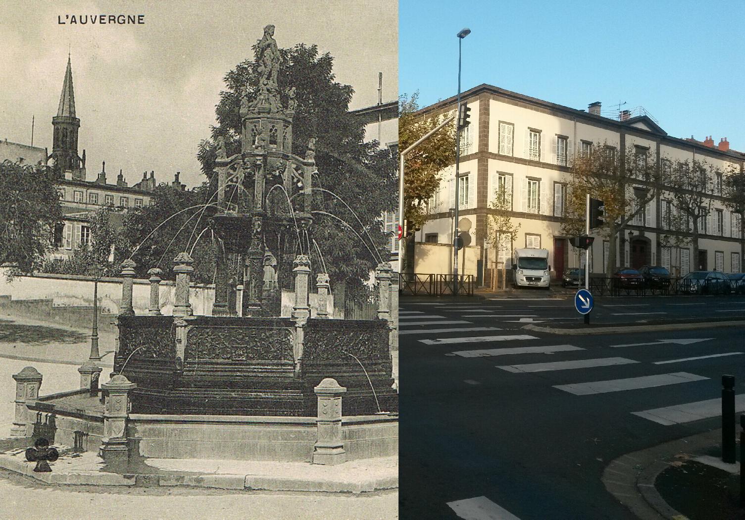 Clermont-Ferrand - Clermont-Ferrand - INSEE 63113 - le Quartier Général et la Fontaine Jacques d'Amboise. Ref.111. L'Auvergne.