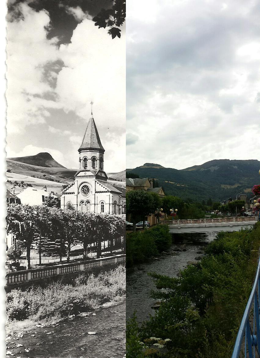 La Bourboule - la Dordogne et l'église. A gauche la banne d'Ordanche, à droite le Puy Gros.