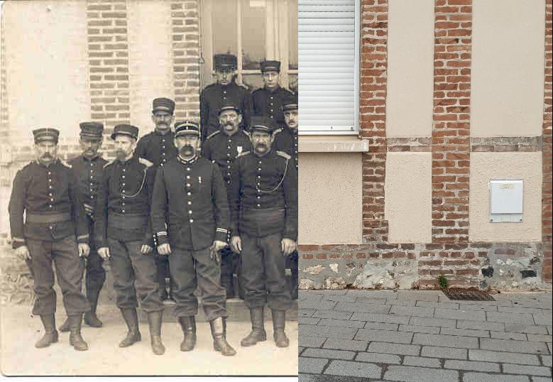 Le Havre-Sanvic - Les Pompiers de SANVIC ,André DELFERRIERE 1er 1er Rg à G,Tambour; Lt Bellanger,Sgt Hébert,CapX Rivel et et Bocquet je connais les noms des sapeurs sans pouvoir les identifier sapeurs