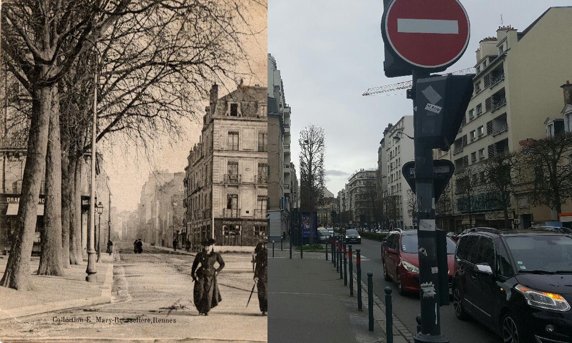 Rennes - Début du XXème siècle.Le boulevard de la Liberté et la rue Poullain Duparc.