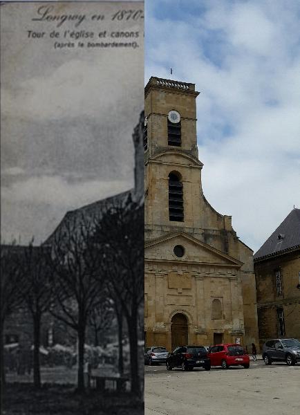 Longwy - L'église St Dagobert, les canons sur la Place d'Armes à Longwy-Haut (Guerre 1870-1871)