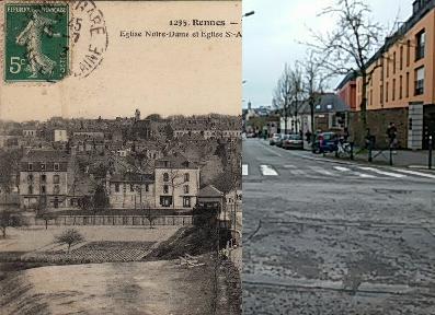 Rennes - Eglise Notre Dame et Eglise Saint Aubin, au premier plan la Caserne Mac-Mahon