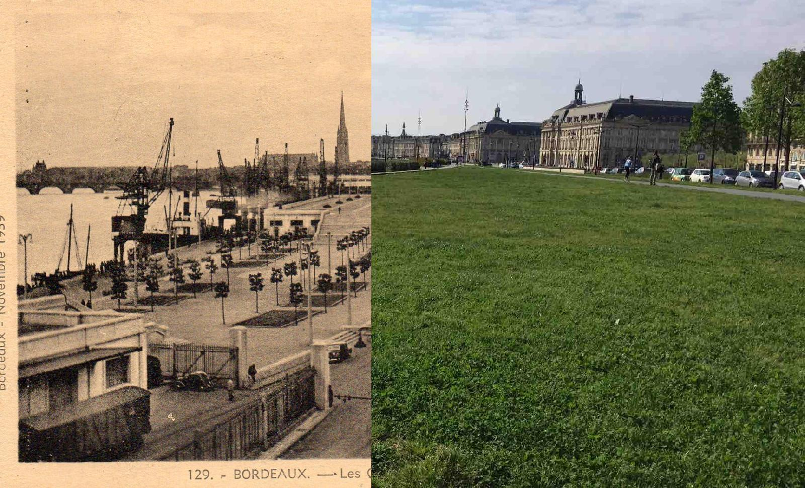Bordeaux - Les quais face à l'esplanade des Quinconces et les hangars surplombés de terrasses
