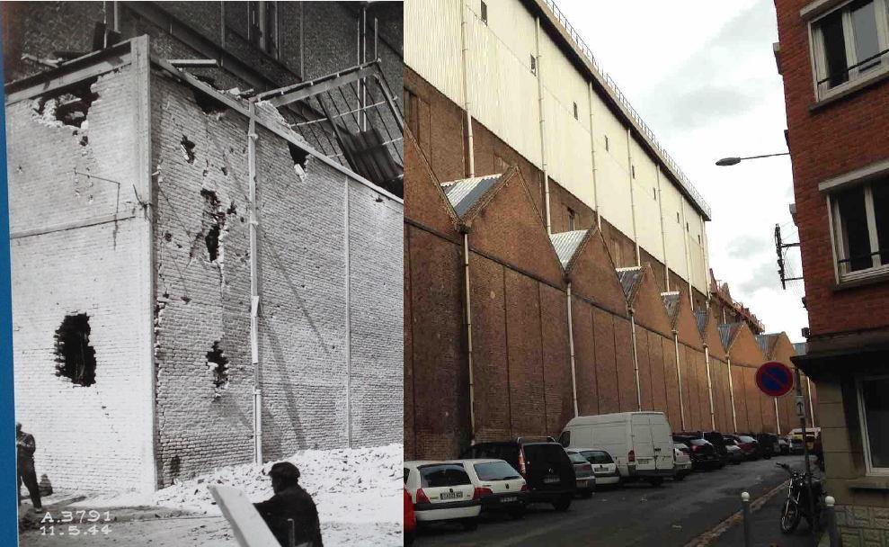 Lille - 1944 – La rue Bacon après plusieurs bombardements des alliés sur Fives touchant essentiellement le secteur des usines. Les usines sont à l'époque réquisitionnées par les allemands qui s'en servent pour leur armement. C'est donc un lieu stratégique.