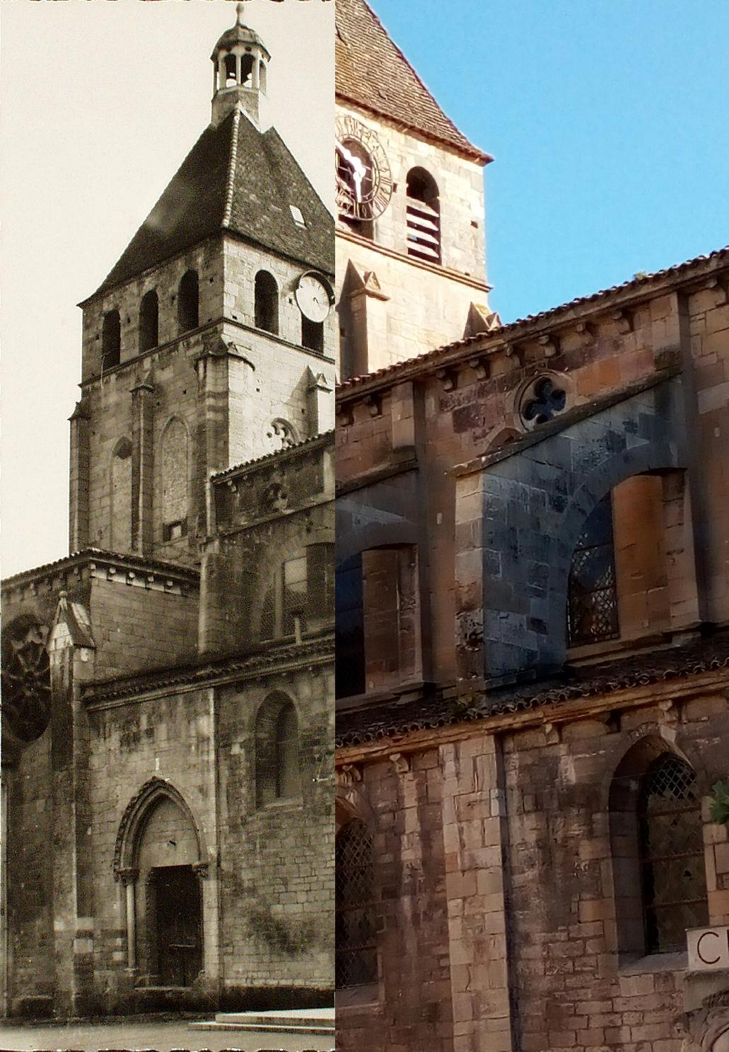 Cluny - Cluny. Clocher de l'église Notre-Dame et monument du Clunysois aux victimes de la guerre 1939-1945. M. Gaumont sculpteur. M Sallez architecte.