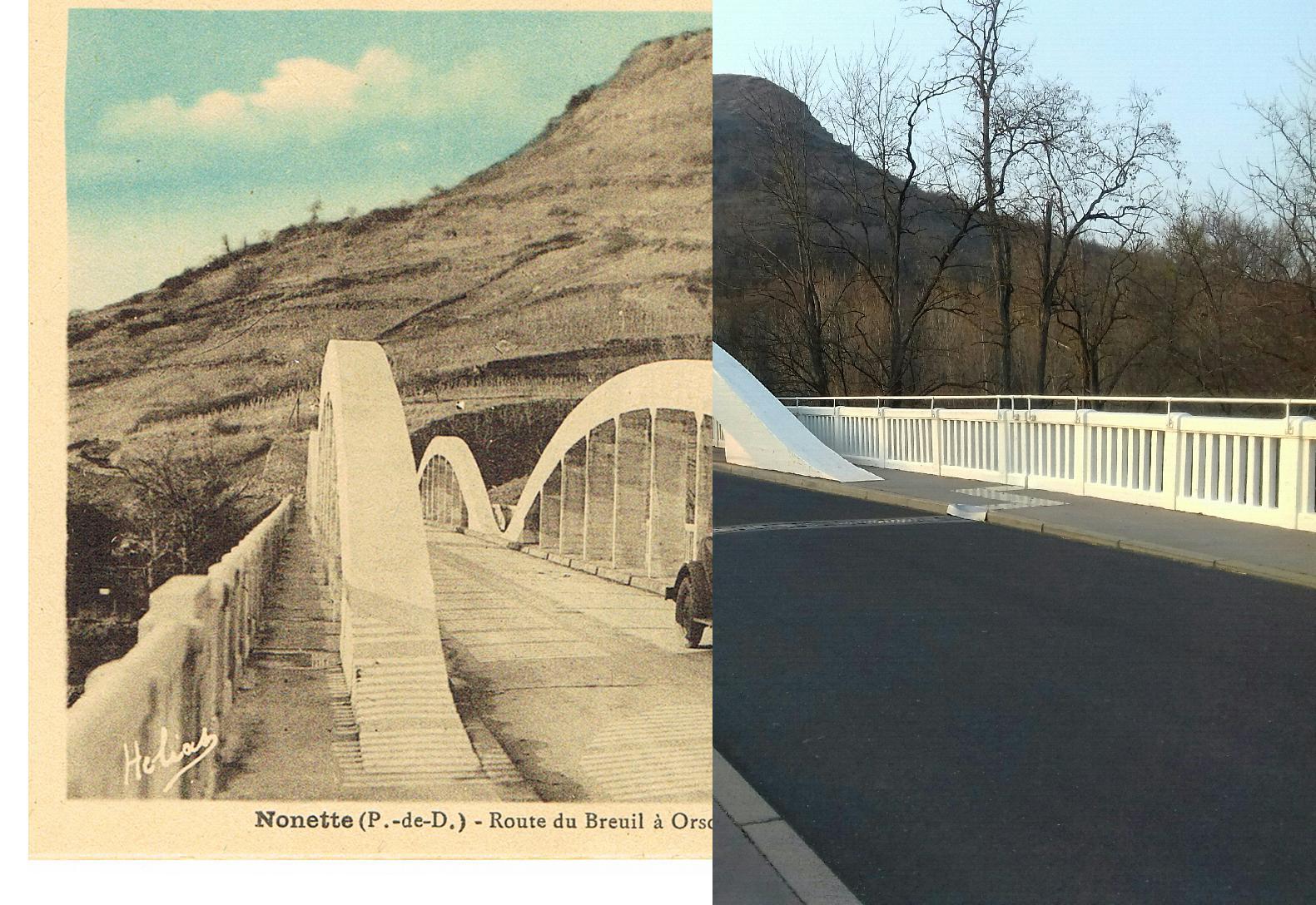 Nonette - Nonette - INSEE 63255 - le pont sur l'Allier et la butte.