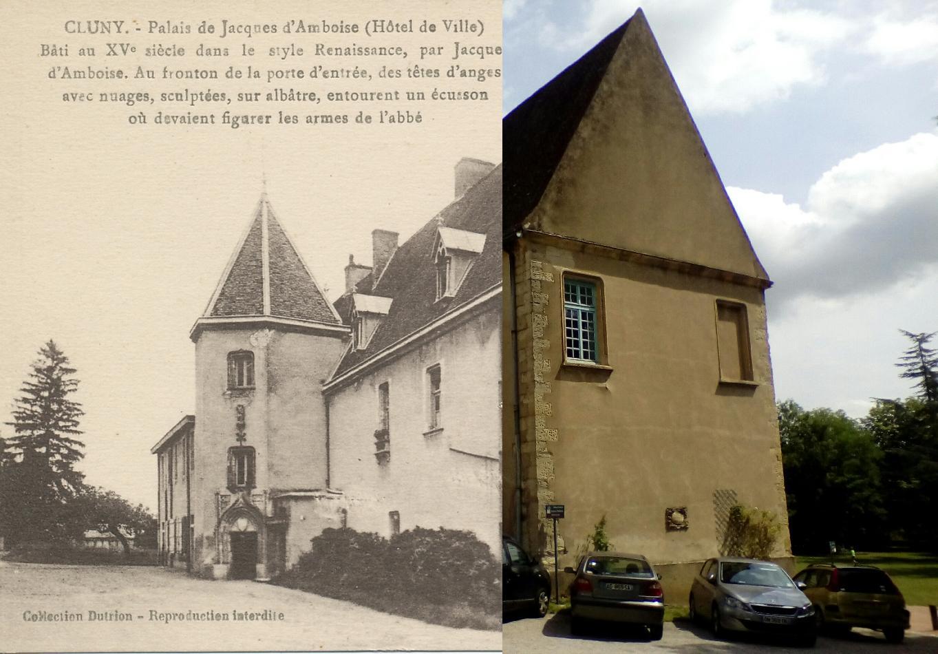 Cluny - Cluny. Palais de Jacques d'Amboise (hôtel de Ville). Bâti au XVe s. dans le style Renaissance, par Jacques d'Amboise. Au fronton de la porte d'entrée, des têtes d'anges avec nuages, sculptées, sur albâtre, entourent un écusson où devaient figurer les armes de l'abbé.