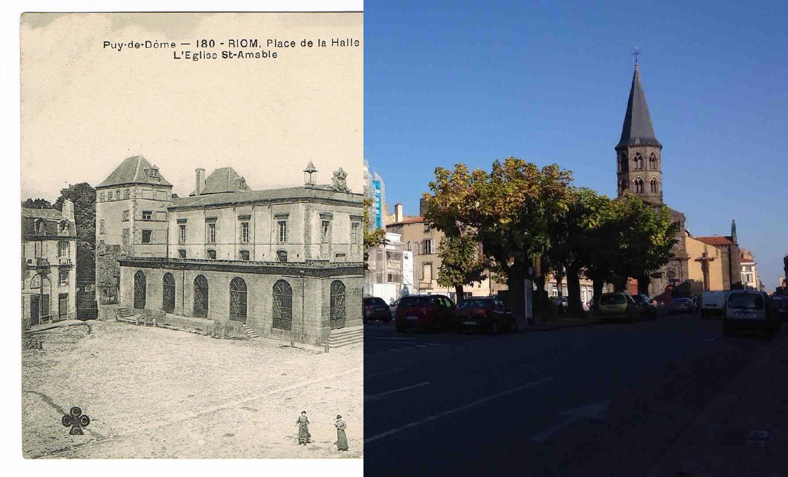 Riom - Riom - INSEE 63300 - Place de la Halle et Eglise St Amable. Puy-de-Dôme Ref.180.