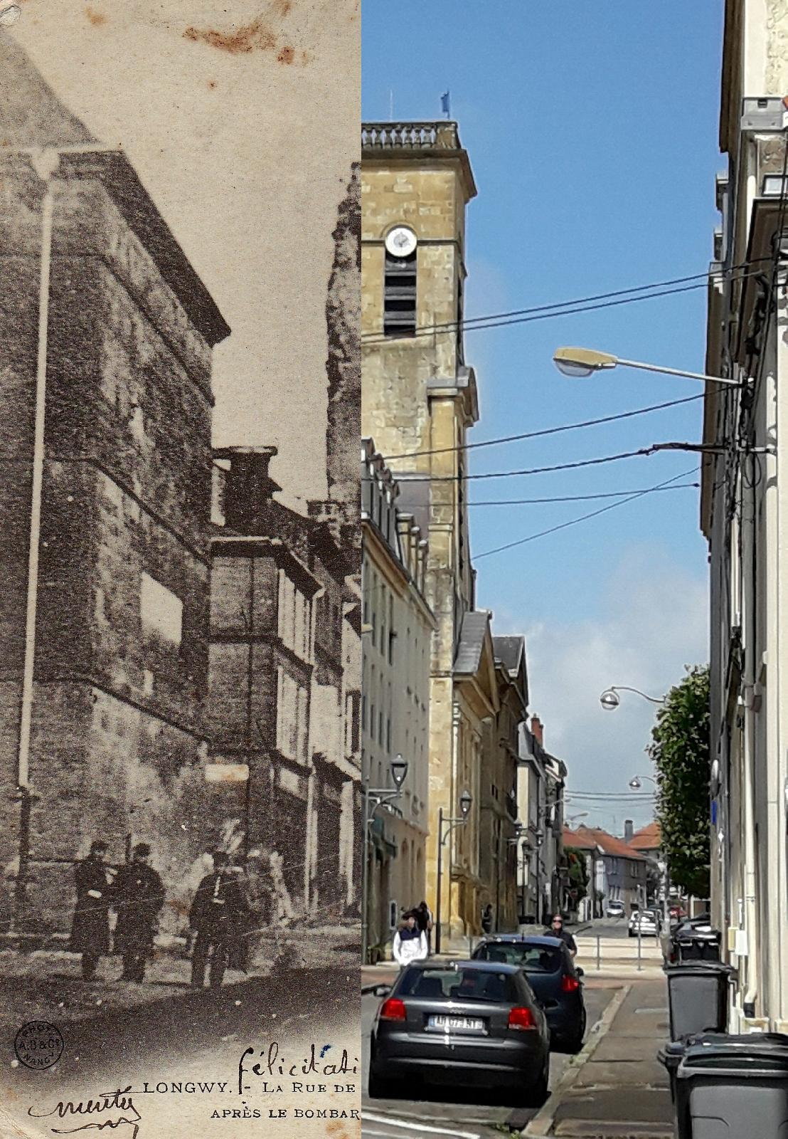 Longwy - Rue de l'Hôtel de Ville et l'Eglise après un Bombardement de 1870-1871