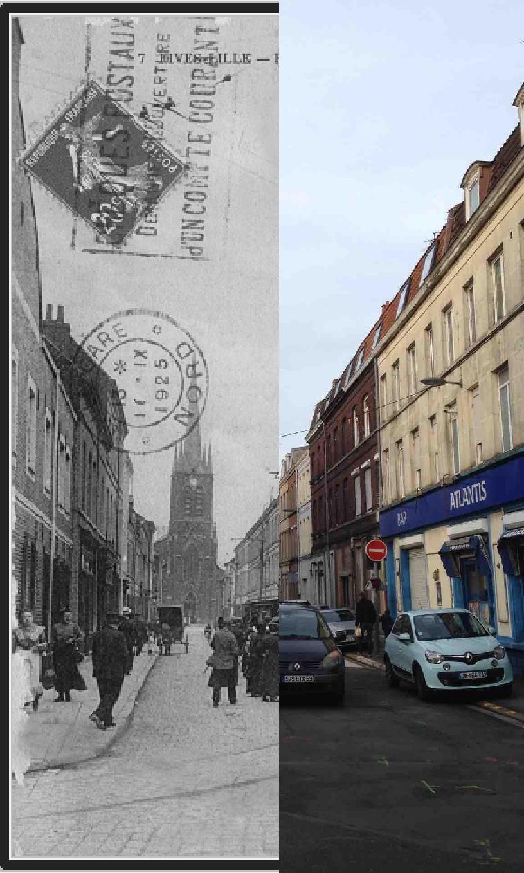 Lille -  La rue du Prieuré est ouverte quelques années avant le VIIe agrandissement de 1858 pour répondre aux besoins d'un quartier en plein essor, dont l'industrialisation nécessite de la main-d'œuvre et de nouveaux logements. Un nouveau centre s'anime alors dans le périmètre de l'église Notre-Dame à peine achevée (rue du Prieuré, rue Bernos, rue du Calvaire, rue Jules-de-Vicq, rue de Bouvines).La rue fait référence à l'ancien prieuré de Fives, bâti en 1135 sous les ordres du comte Thierry d'Alsace¹. Le prieuré, entouré par les eaux du Becquerel, a subsisté jusqu'au siège autrichien de 1792 suite auquel il a été détruit. Longtemps, l'enclos du prieuré a persisté, jusqu'à ce que de nouvelles voies de communication (Voie Rapide Urbaine, rue Bernard Palissy) en fasse disparaître toute trace.Sur cette carte, la rue du Prieuré est photographiée à l'angle de la rue Pierre Legrand et en direction de l'église Notre-Dame. La vieille demeure d'angle avec niche, héritage du vieux Fives avant l'industrialisation, n'existe plus aujourd'hui.lilledantan.com