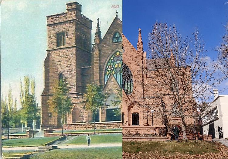 Salt Lake City - First Presbyterian Church of Salt Lake City - Carte postale ancienne et vue d'Hier et Aujourd'hui