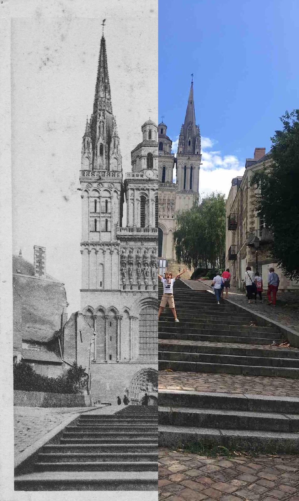 Angers - Montée saint maurice et la cathédrale angers