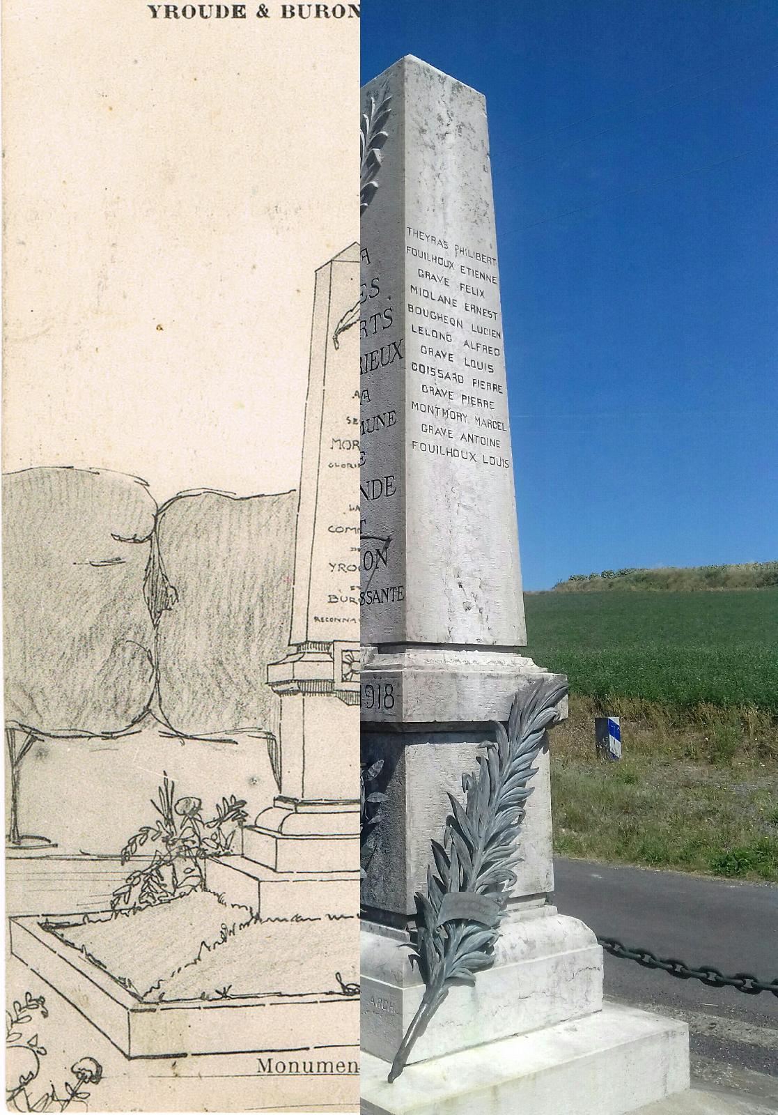 Yronde-et-Buron - Yronde-et-Buron - INSEE 63472 - Monument aux Morts, gravure.voir le dépôt des images et relevé de ce Monument sur Geneanet.