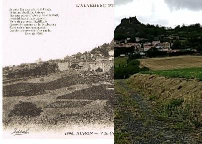"""Yronde-et-Buron - Yronde-et-Buron - INSEE 63472 - les Verdiers et Buron et le Château. Ref. 4996."""" Je suis Buron, roche très haute,"""" Point ne double la baterye,"""" Pas nay paour d'estre prins d'assault,"""" Semblablement par mynerie."""" Ne craingts point l'artillerie,"""" Couptz de canons ou de bombardes,"""" Tant suis d'une maçonnerie,"""" Que de canoyers je n'ay garde."""" (Vers de 1552.)"""